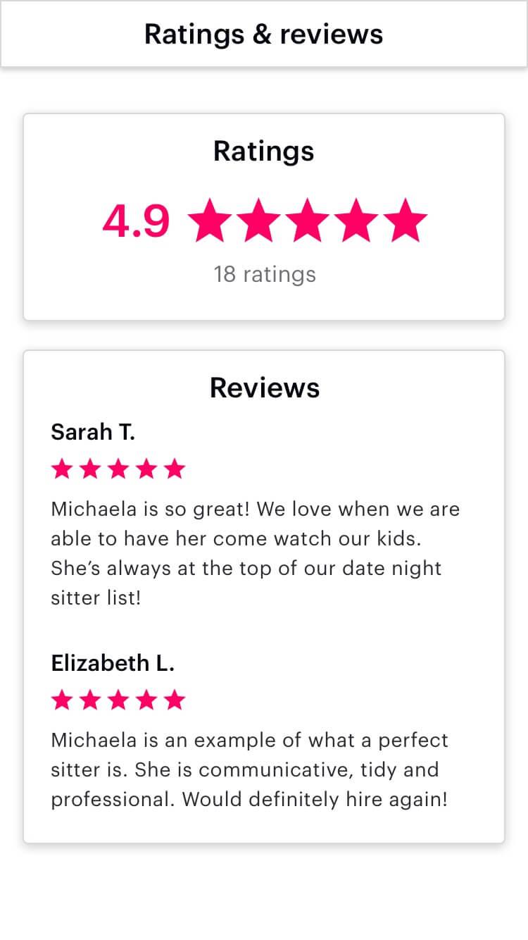 Ratings & reviews of Michaela H.